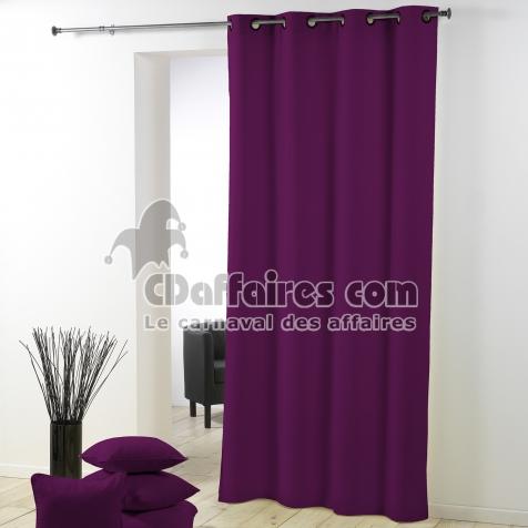 rideau a oeillets plastique 140 x 260 cm polyester uni essentiel prune cdaffaires. Black Bedroom Furniture Sets. Home Design Ideas