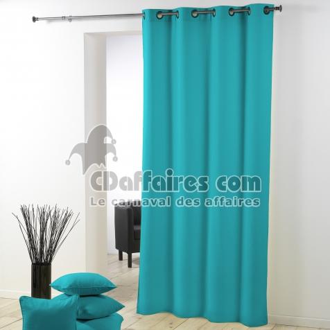 rideau a oeillets plastique 140 x 260 cm polyester uni essentiel turquoise cdaffaires. Black Bedroom Furniture Sets. Home Design Ideas