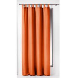 Rideau a passants 140 x 260 cm polyester uni essentiel Brique