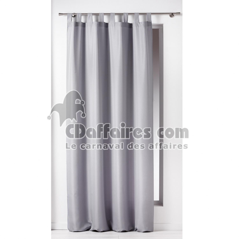 rideau a passants 140 x 260 cm polyester uni essentiel gris cdaffaires. Black Bedroom Furniture Sets. Home Design Ideas