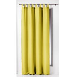Rideau a passants 140 x 260 cm polyester uni essentiel Tilleul