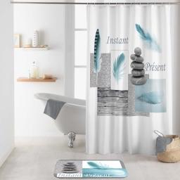 rideau de douche avec crochets 180 x 200 cm polyester imp. equilibre des. place