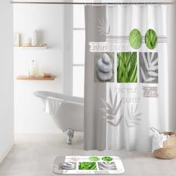 rideau de douche avec crochets 180 x 200 cm polyester imp. moment zen des. place