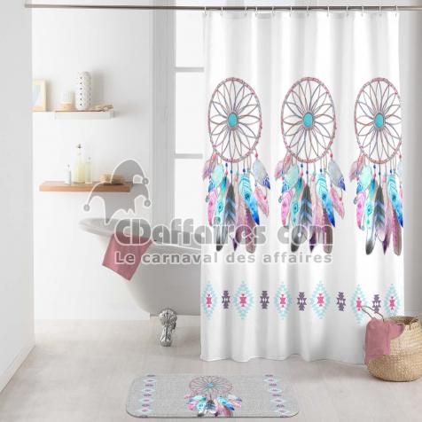 rideau de douche avec crochets 180 x 200 cm polyester imprime ...