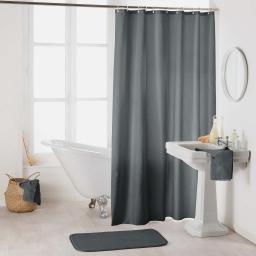 Rideau de douche avec crochets 180 x 200 cm polyester uni essencia Anthracite