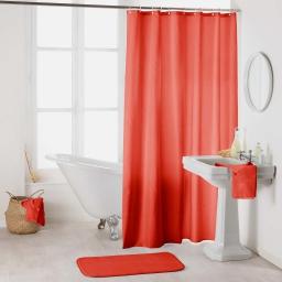 Rideau de douche avec crochets 180 x 200 cm polyester uni essencia Corail