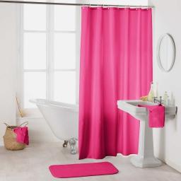 Rideau de douche avec crochets 180 x 200 cm polyester uni essencia Fuchsia