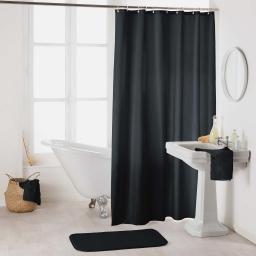 Rideau de douche avec crochets 180 x 200 cm polyester uni essencia Noir