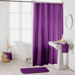Rideau de douche avec crochets 180 x 200 cm polyester uni essencia Prune