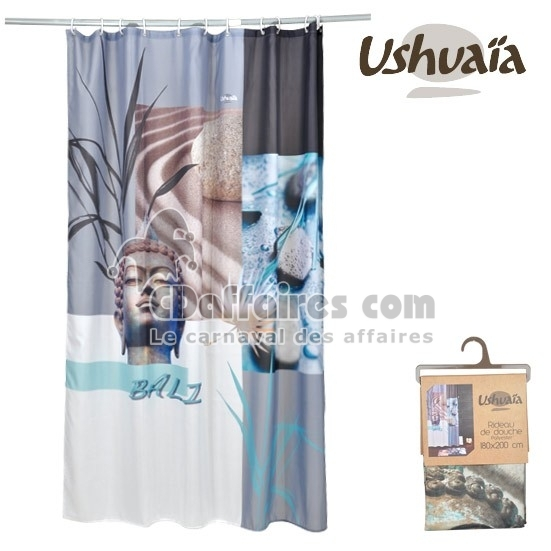 rideau de douche tissu 180x200 cm bali bleu ushuaia ebay. Black Bedroom Furniture Sets. Home Design Ideas