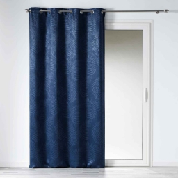 Rideau occultant 140 x 240 cm en velours frappé tropicaline Bleu Indigo