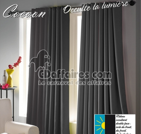 rideau occultant et isolant cocoon gris anthracite 140x260 cm cdaffaires. Black Bedroom Furniture Sets. Home Design Ideas