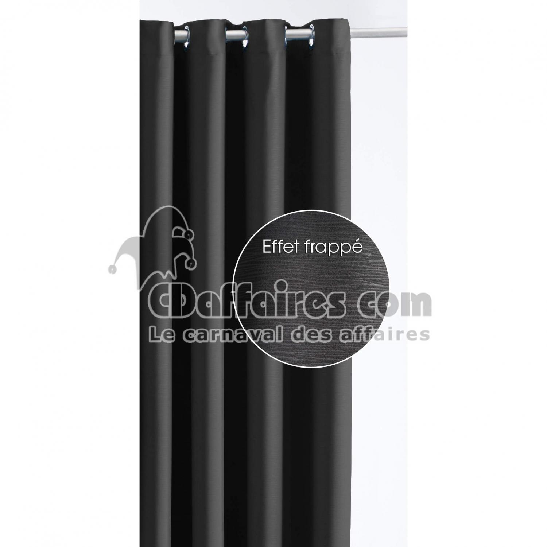rideau occultant et isolant effet frapp 140x260 cm noir ebay. Black Bedroom Furniture Sets. Home Design Ideas