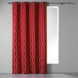 Rideau tamisant a oeillets 140 x 260 cm jacquard azora Rouge