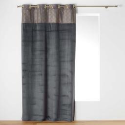 Rideau tamisant en velours anthracite/or 140 x 240 cm inprimé Duchesse