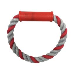 rond de corde avec poignée plastique rouge h7*4*1cm - 1 coloris rouge/gris
