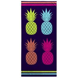 serviette de plage 70 x 150 cm eponge velours imprime ananas cool