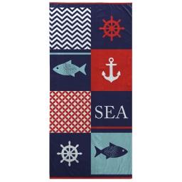 serviette de plage 70 x 150 cm eponge velours imprime cargo