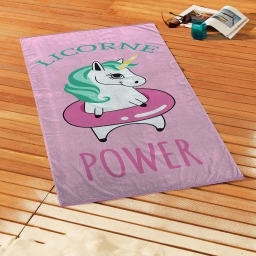 serviette de plage 70 x 150 cm eponge velours imprime licorne