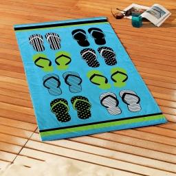 serviette de plage 70 x 150 cm eponge velours imprime tong