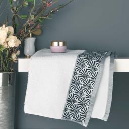 Serviette de toilette 50 x 90 cm eponge absorbante goldy Blanc/argent
