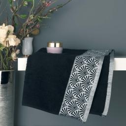 Serviette de toilette 50 x 90 cm eponge absorbante goldy Noir/argent