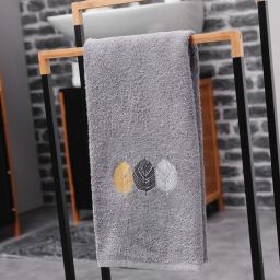 Serviette de toilette 50 x 90 cm eponge brodee fougerys Gris