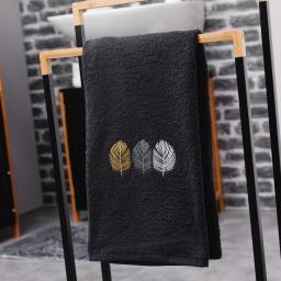 Serviette de toilette 50 x 90 cm eponge brodee fougerys Noir