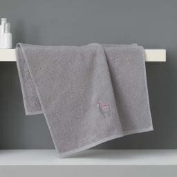 Serviette de toilette 50 x 90 cm eponge brodee lamalima Gris Clair