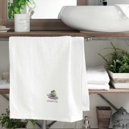 Serviette de toilette 50 x 90 cm eponge brodee mineral Blanc