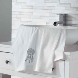 Serviette de toilette 50 x 90 cm eponge brodee talisman Blanc