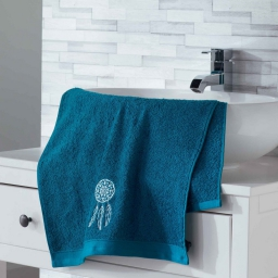Serviette de toilette 50 x 90 cm eponge brodee talisman Bleu