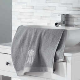 Serviette de toilette 50 x 90 cm eponge brodee talisman Gris