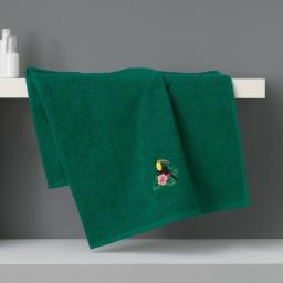 Serviette de toilette 50 x 90 cm eponge brodee toucalaos Vert