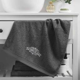 Serviette de toilette 50 x 90 cm eponge brodee vintage Anthracite