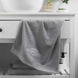 Serviette de toilette 50 x 90 cm eponge brodee vintage Gris
