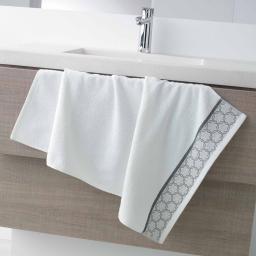 Serviette de toilette 50 x 90 cm eponge unie jacquard adelie Blanc