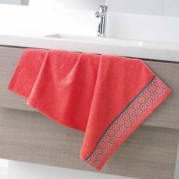 Serviette de toilette 50 x 90 cm eponge unie jacquard adelie Corail