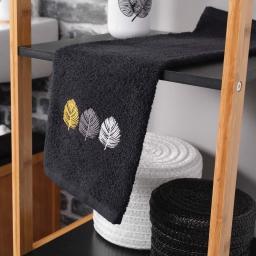 Serviette invite 30 x 50 cm eponge brodee fougerys Noir