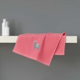 Serviette invite 30 x 50 cm eponge brodee lamalima Rose