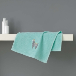 Serviette invite 30 x 50 cm eponge brodee lamalima Vert D'eau