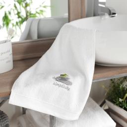 Serviette invite 30 x 50 cm eponge brodee mineral Blanc