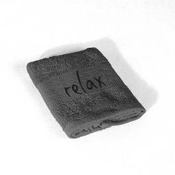 Serviette invite 30 x 50 cm eponge brodee relax Anthracite