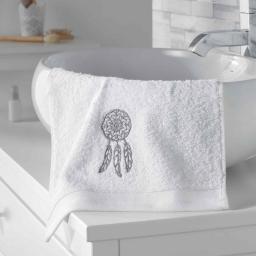 Serviette invite 30 x 50 cm eponge brodee talisman Blanc