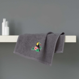 Serviette invite 30 x 50 cm eponge brodee toucalaos Anthracite