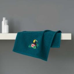 Serviette invite 30 x 50 cm eponge brodee toucalaos Bleu