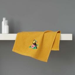 Serviette invite 30 x 50 cm eponge brodee toucalaos Jaune