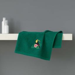 Serviette invite 30 x 50 cm eponge brodee toucalaos Vert