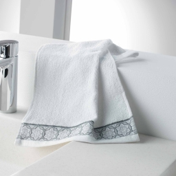Serviette invite 30 x 50 cm eponge unie jacquard adelie Blanc