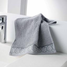 Serviette invite 30 x 50 cm eponge unie jacquard adelie Gris